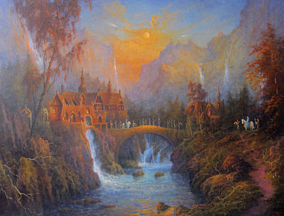 The Shire Painting - Farewell To Rivendell The Passing Of The Elves by Joe  Gilronan