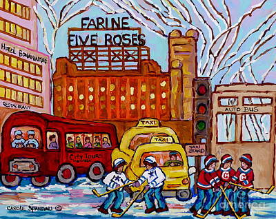 Street Hockey Painting - Farine Five Roses Montreal 375 Hometown Hockey Hotel Bonaventure Tour Bus Canadian Art C Spandau Art by Carole Spandau