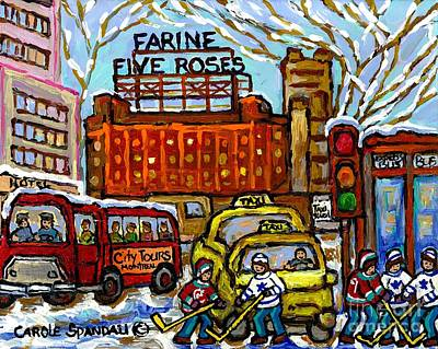 Hockey Painting - Farine Five Roses Sign Downtown Montreal Scenes Street Hockey Game Canadian Art Carole Spandau       by Carole Spandau