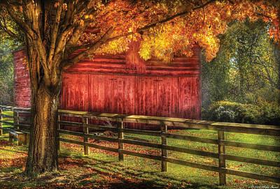 Barn Photograph - Farm - Barn - An Old Red Barn by Mike Savad