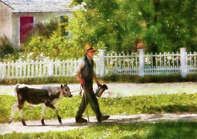 Farm - Cow - Bringing Home Bessie Print by Mike Savad