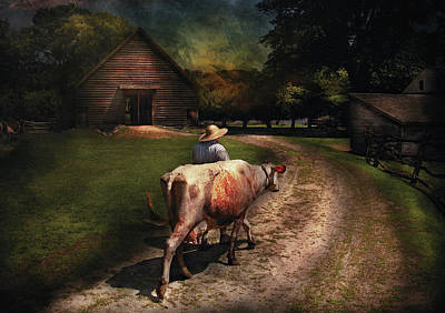 Got Milk Photograph - Farm - Cow - Going To Milk Mabel by Mike Savad
