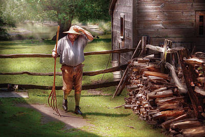 Farm - Farmer - Chores Art Print by Mike Savad