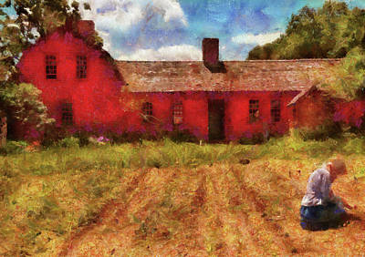 Houses Photograph - Farm - Farmer - Working In The Fields  by Mike Savad
