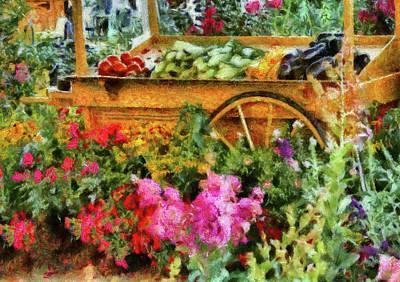 Farm - Food - At The Farmers Market Art Print by Mike Savad