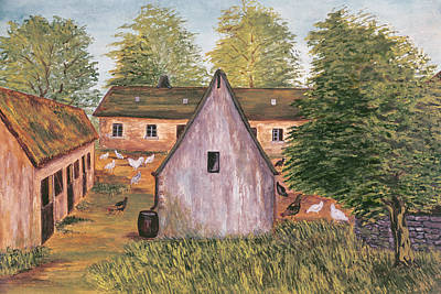 Rural Scenes Drawing - Farm And Farmyard In France by French School