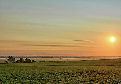 Photograph - Farm And Fog Sunrise 3 by Bonfire Photography