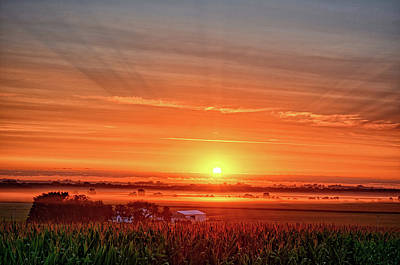 Photograph - Farm And Fog Sunrise by Bonfire Photography