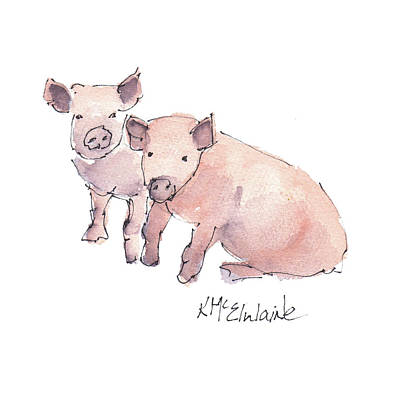 Painting - Farm Animals, Pigs by Kathleen McElwaine