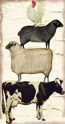 Cow Wall Art - Painting - Farm Animals Pileup by Mindy Sommers