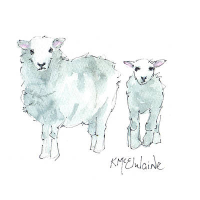 Painting - Farm Animals, Sheep by Kathleen McElwaine