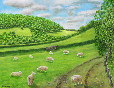 Sheep Painting - Farm At Craven Arms by Ronald Haber