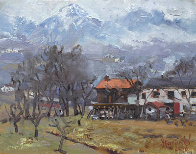 Mountain Snow Landscape Painting - Farm  At Dolomites, Belluno, Italy by Ylli Haruni