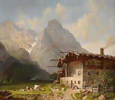 Mountain Goat Art Painting - Farm Before Garmisch by Mountain Dreams