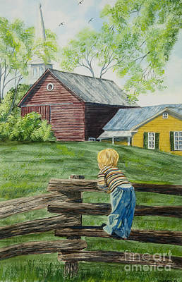 Barn Poster Painting - Farm Boy by Charlotte Blanchard