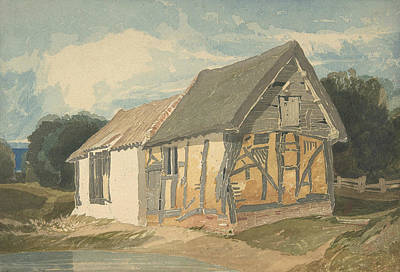 Drawing - Farm Building By A Pond by John Sell Cotman