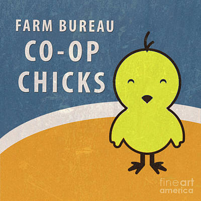 Farm Bureau Co-op Chicks Retro Vintage Farm Sign Art Print by Edward Fielding