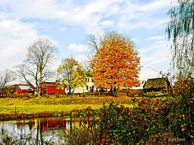 Farm By Pond In Autumn Art Print