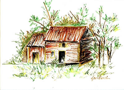 Drawing - Farm Cottage by Deborah Willard