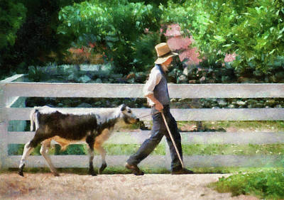 Got Milk Photograph - Farm - Cow -the Farmer And The Dell  by Mike Savad