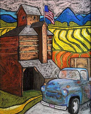 Outsider Art Pastel - Working On The Farm by David Hinds