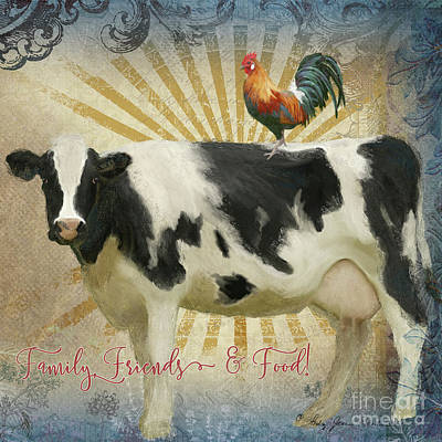 Painting - Farm Fresh Barnyard Animals Cow Rooster Typography by Audrey Jeanne Roberts