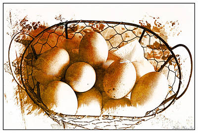 Photograph - Farm Fresh Eggs - Digital Effect 1 by Debbie Portwood