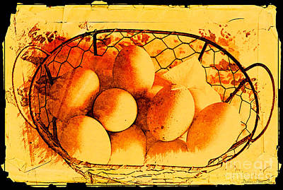 Photograph - Farm Fresh Eggs- Digital Effect 2 by Debbie Portwood