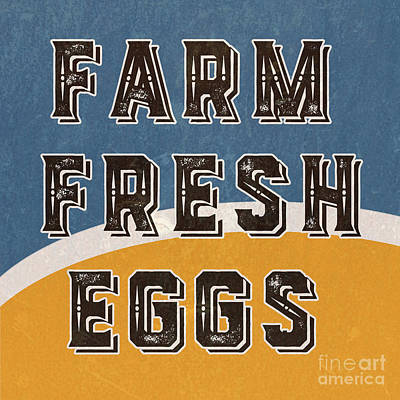 Country Cottage Mixed Media - Farm Fresh Eggs Retro Vintage Sign by Edward Fielding