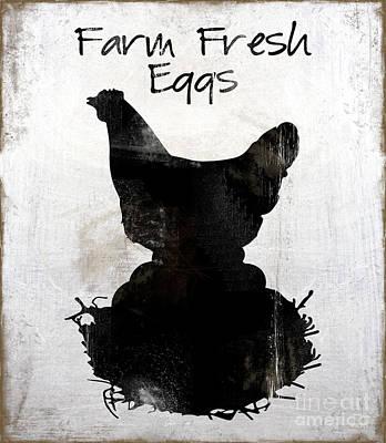 Fresh Eggs Painting - Farm Fresh Eggs, Weathered Working Farm Kitchen Art by Tina Lavoie