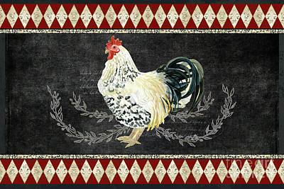 Print featuring the painting Farm Fresh Rooster 3 - On Chalkboard W Diamond Pattern Border by Audrey Jeanne Roberts