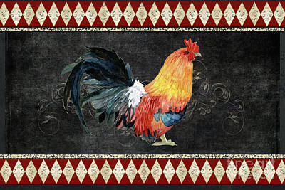 Print featuring the painting Farm Fresh Rooster 4 - On Chalkboard W Diamond Pattern Border by Audrey Jeanne Roberts