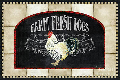 Painting - Farm Fresh Roosters 1 - Fresh Eggs Typography by Audrey Jeanne Roberts