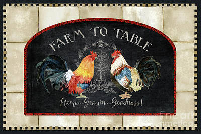 Print featuring the painting Farm Fresh Roosters 2 - Farm To Table Chalkboard by Audrey Jeanne Roberts