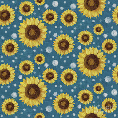 Painting - Farm Fresh Sunflower Blue Dot Circle Toss Pattern by Audrey Jeanne Roberts