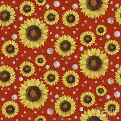 Bold Colorful Painting - Farm Fresh Sunflower Red Dot Circle Toss Pattern by Audrey Jeanne Roberts