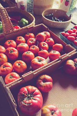 Photograph - Farm Fresh Tomatoes At A Farm Stand by Edward Fielding