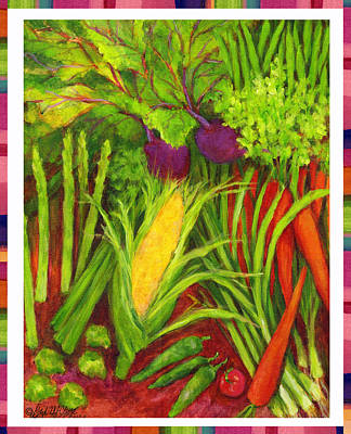 Asparagus Drawing - Farm Fresh Veggies 2 by Gail McClure