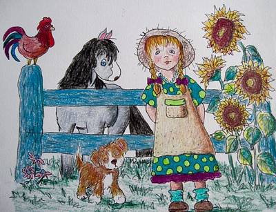 Drawing - Farm Girll by Megan Walsh