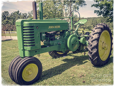 John Deere Wall Art - Photograph - Farm Green Tractor Vintage Style by Edward Fielding