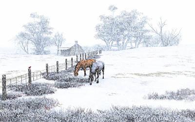 Farmhouse Painting - Farm Horses In The Snow by Diana Voyajolu