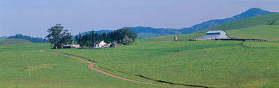 Farm House And Barn In Spring, Route 1 Art Print by Panoramic Images