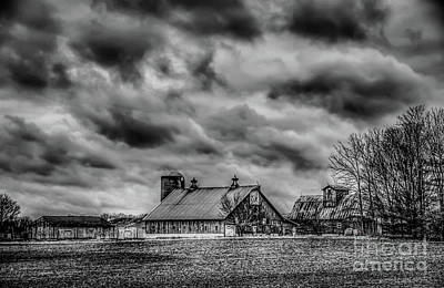 Photograph - Farm House Black And White by Peggy Franz