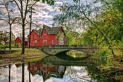 Dilapidated Barn Digital Art - Farm House Bridge And Reflection by Geraldine Scull