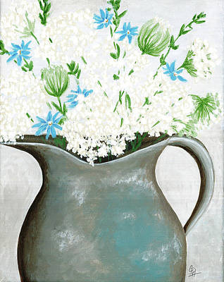Old Pitcher Painting - Farm House Floral by Christel Huttar