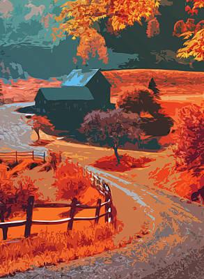Painting - Farm In Autumn - An Idyllic Panorama by Andrea Mazzocchetti