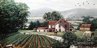Farmhouse Painting - Farm In Late Spring by Diana Voyajolu