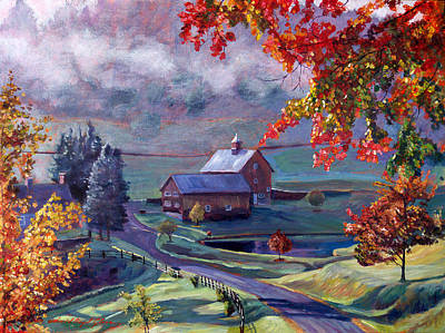 Roads Painting - Farm In The Dell by David Lloyd Glover