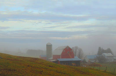 Photograph - Farm In The Fog Along Connecticut River Valley by Nancy Griswold