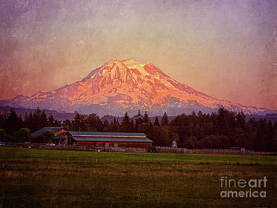 Photograph - Farm In The Shadow Of Mount Rainier by Jim And Emily Bush